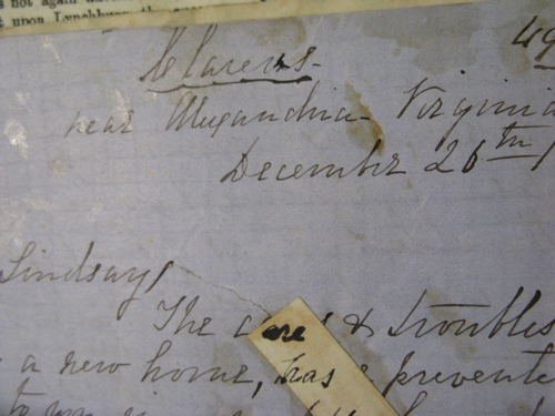 "Header from James M. Mason December 21, 1869 letter to William Schaw Lindsay from ""Clarens"""